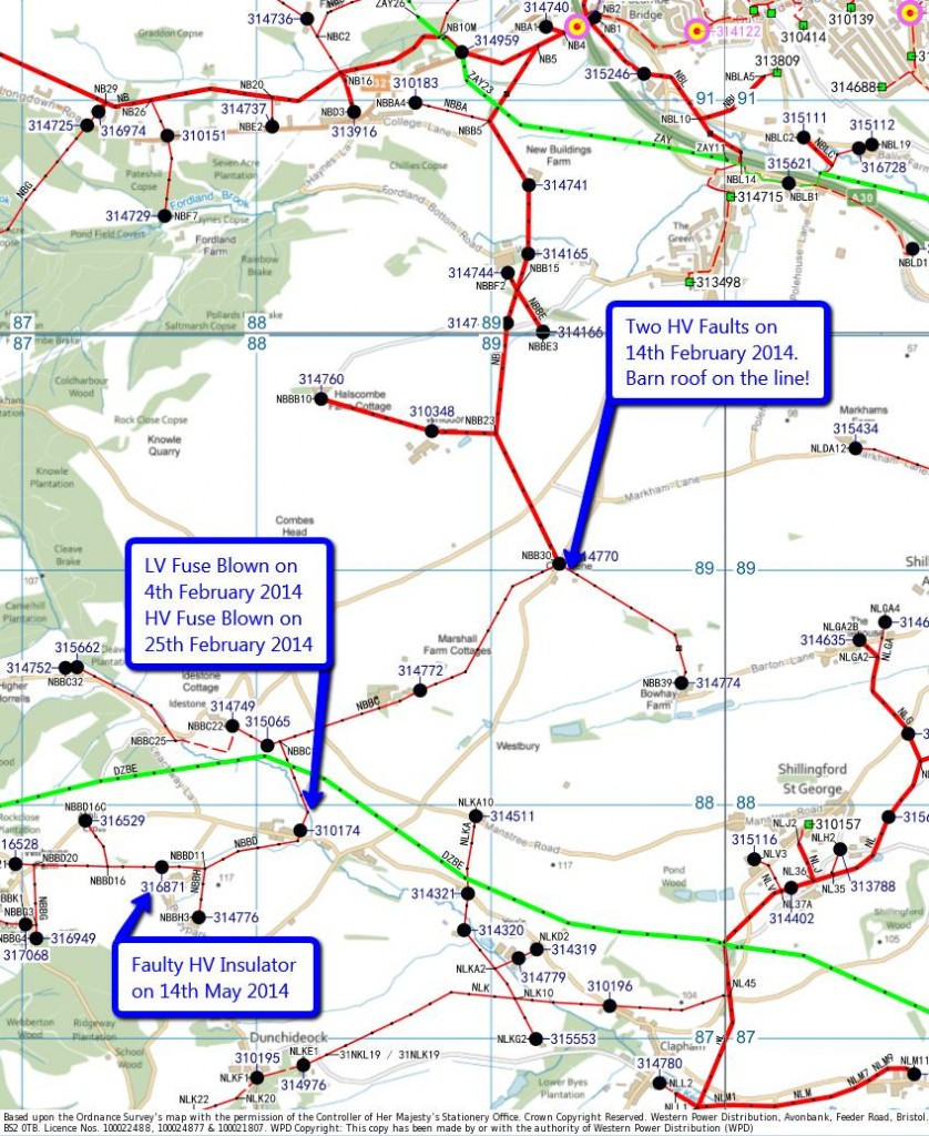 WPD map of 11 kV (red) and 33 kV (green) cables south and west of Exeter